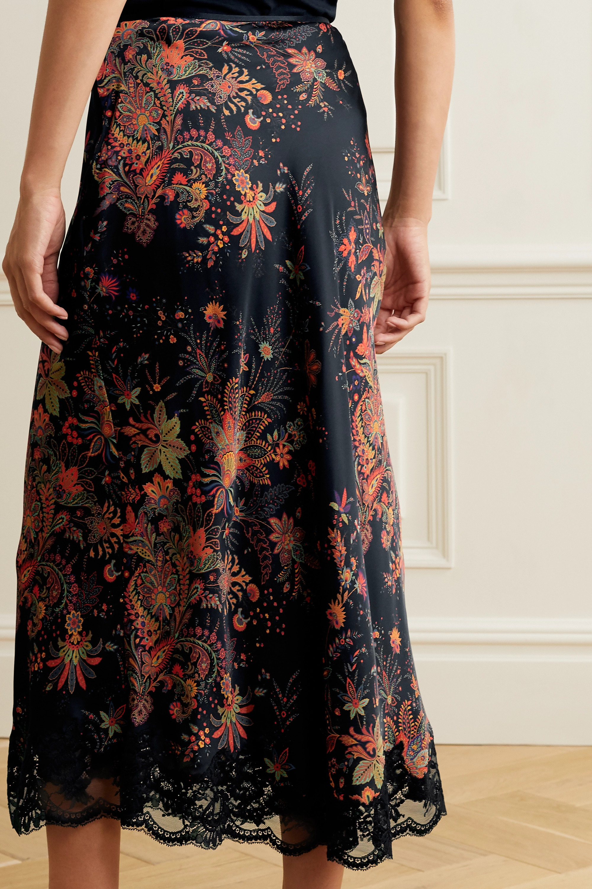 Paco Rabanne Lace-trimmed floral-print satin midi skirt