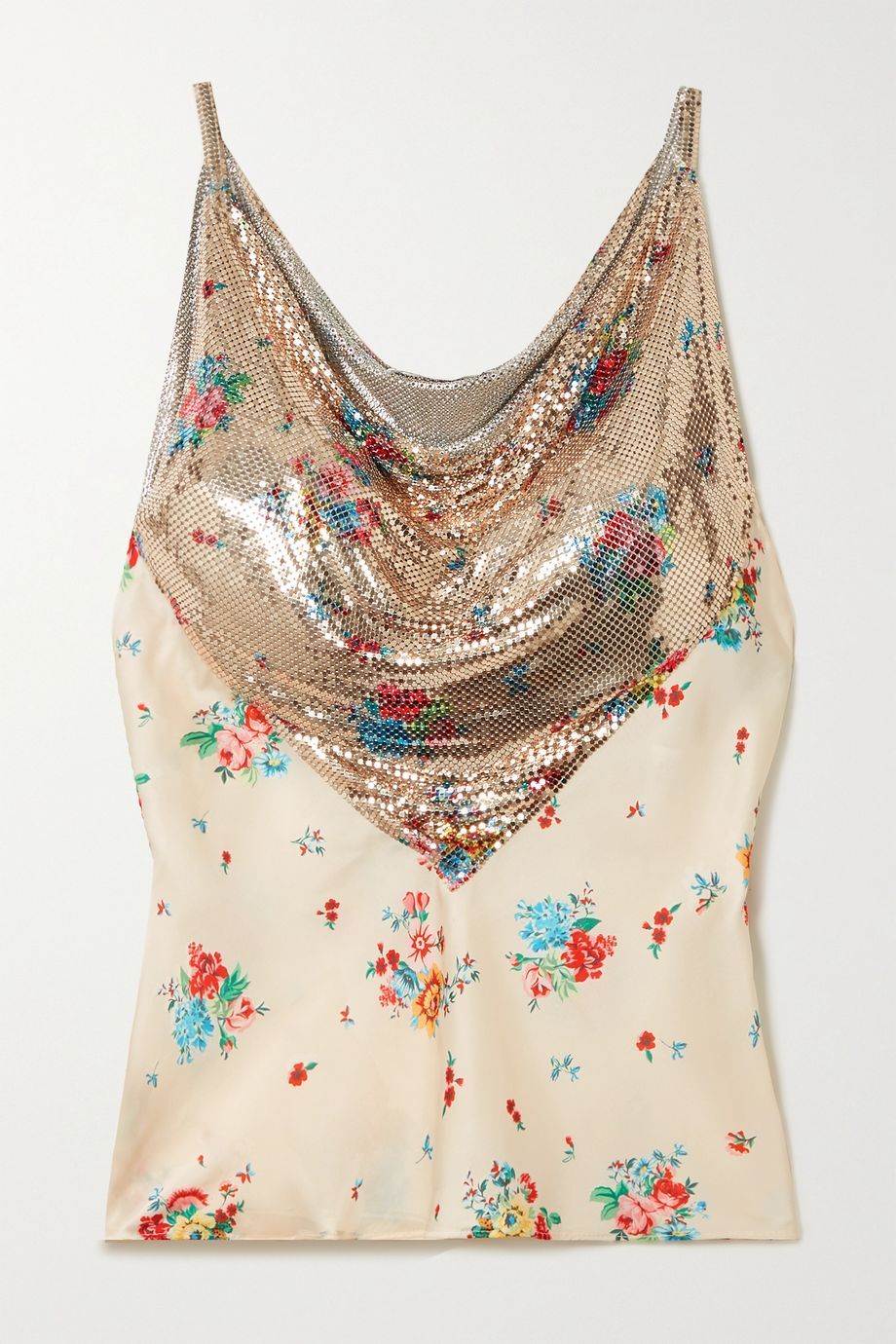 Paco Rabanne Floral-print chainmail and satin camisole