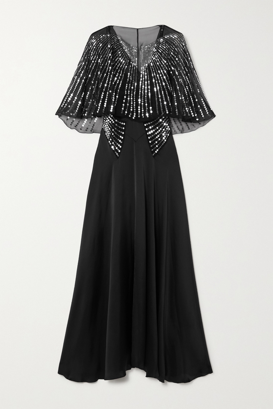 Paco Rabanne Cape-effect sequin-embellished tulle and silk-satin maxi dress