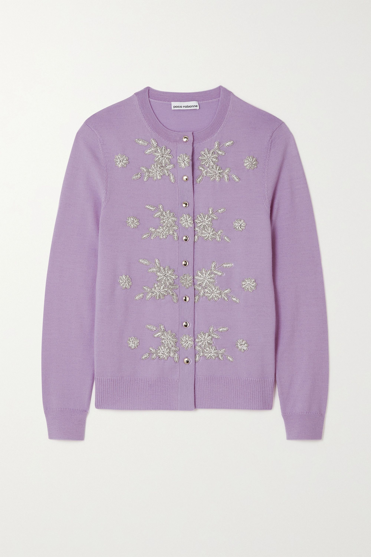 Paco Rabanne Embellished embroidered merino wool cardigan