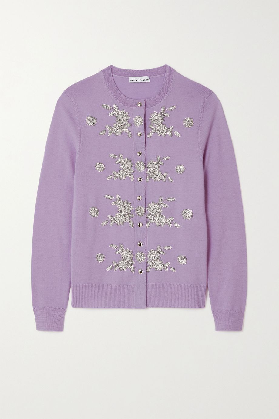 Paco Rabanne Embellished embroidered merino wool cardigan