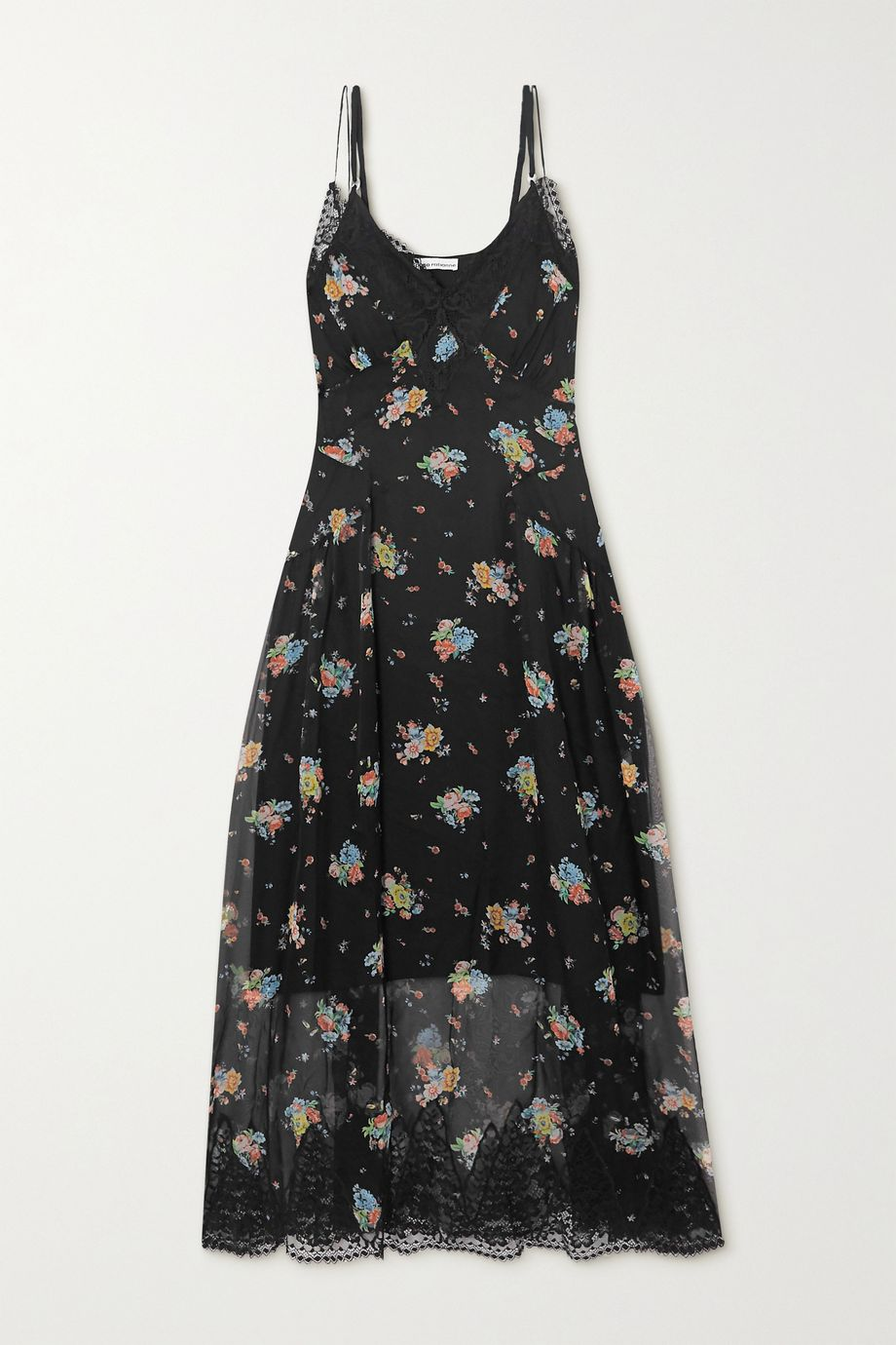 Paco Rabanne Lace-trimmed floral-print silk-chiffon dress