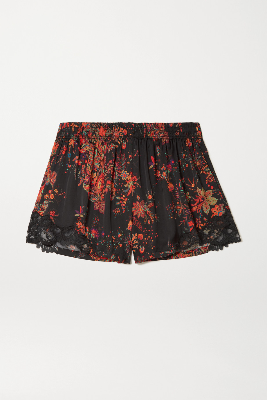 Paco Rabanne Lace-trimmed paisley-print crepe de chine shorts