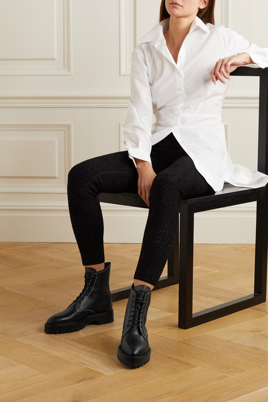 Alaïa Bottines en cuir à clous