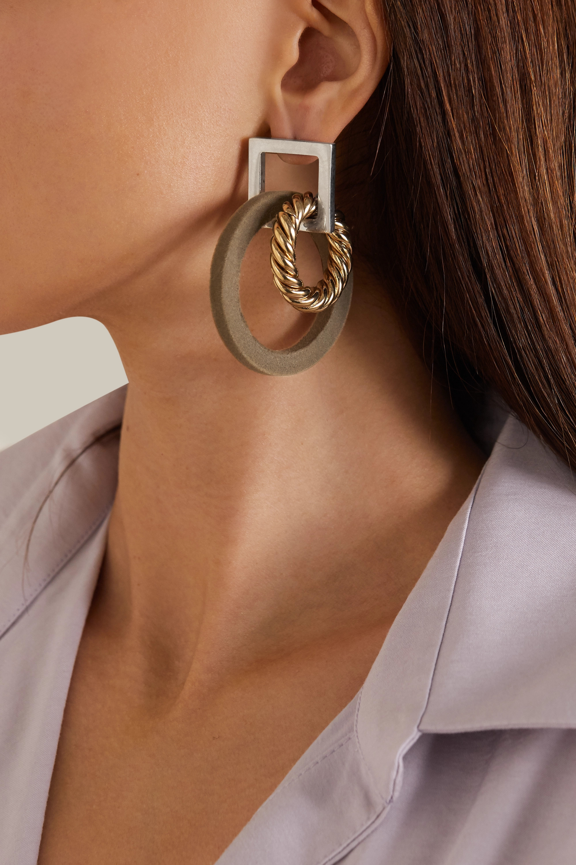 Jacquemus Les Boucles Albi flocked silver- and gold-tone earrings