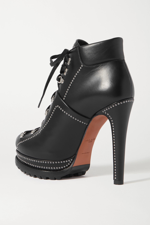 Black 135 Eyelet-embellished Leather Ankle Boots | Alaïa