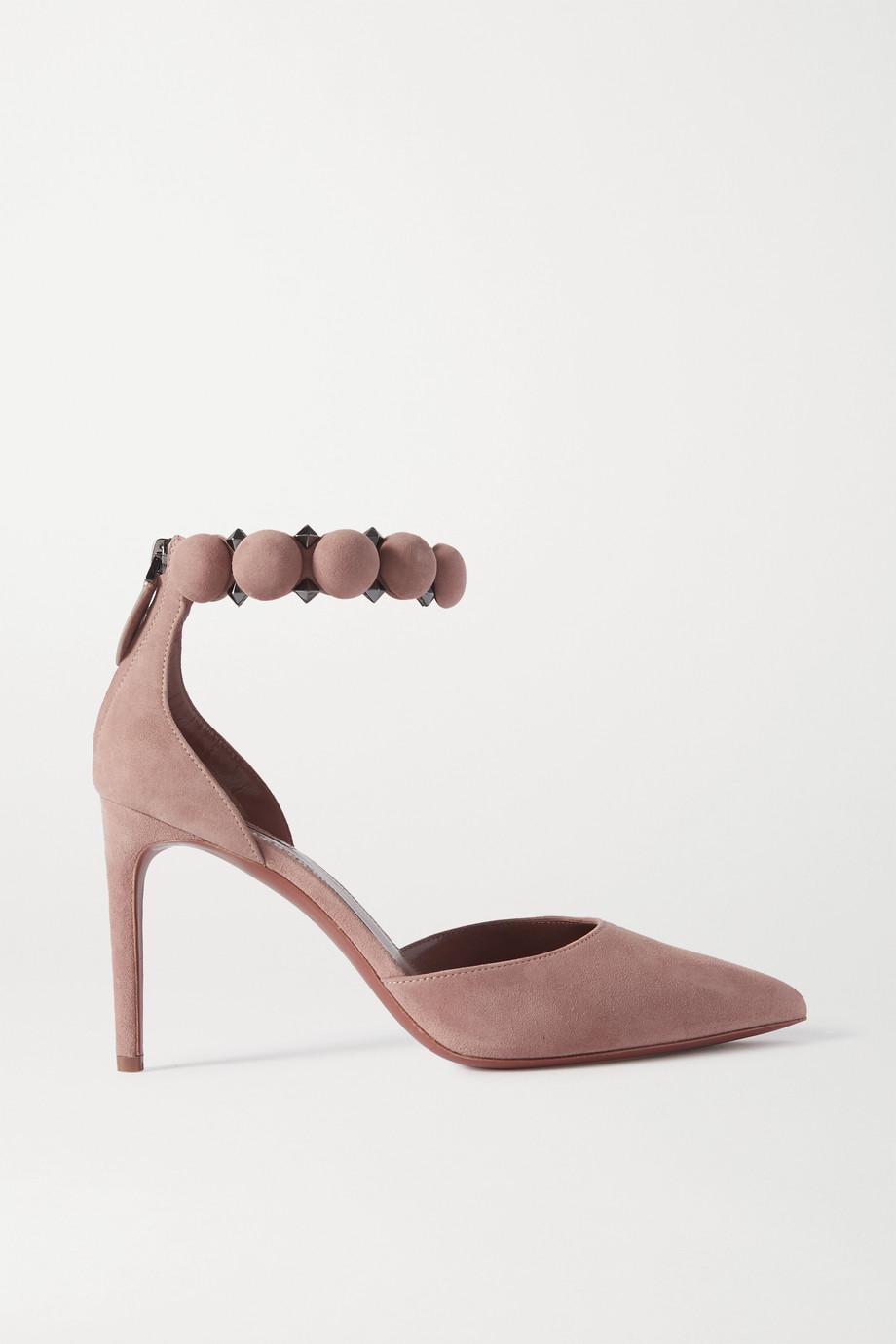 Alaïa Bombe 90 铆钉绒面革高跟鞋