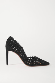 Alaïa 90 laser-cut leather pumps