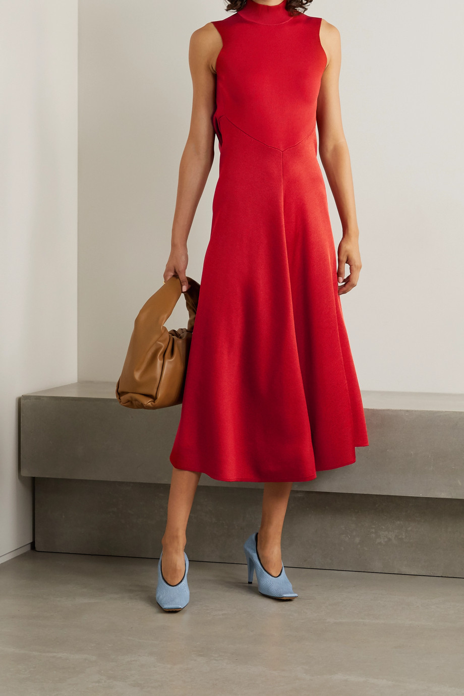 Victoria Beckham Cutout draped stretch-knit turtleneck midi dress