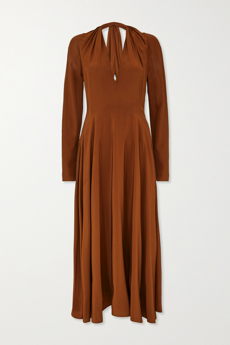 Victoria Beckham Cutout gathered silk midi dress