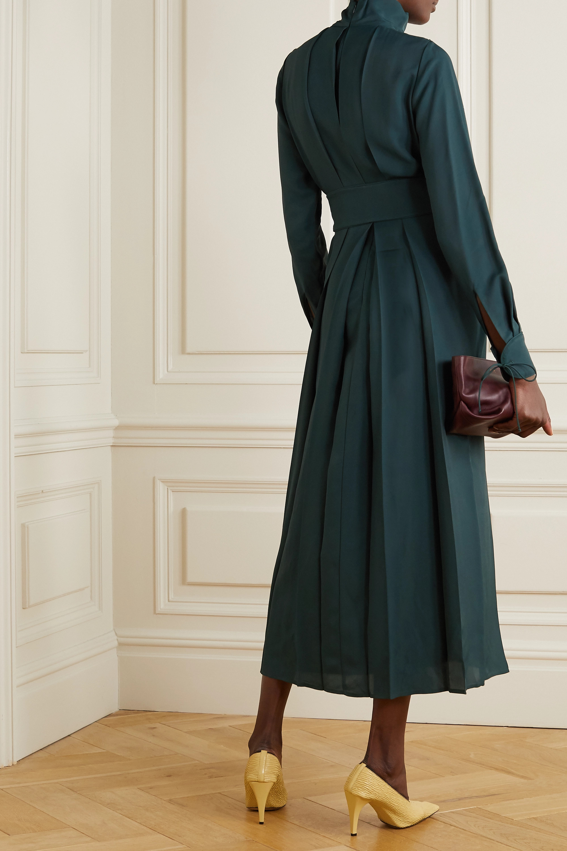 Emerald Belted Pleated Twill Midi Dress | Victoria Beckham