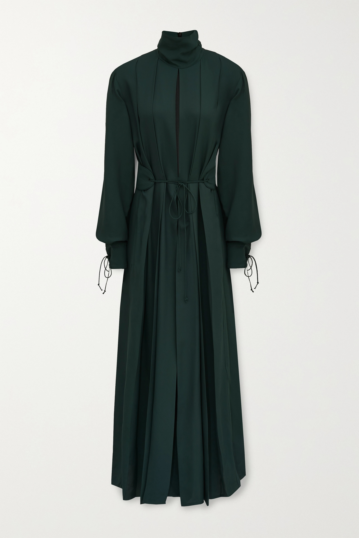 Victoria Beckham Belted pleated twill midi dress