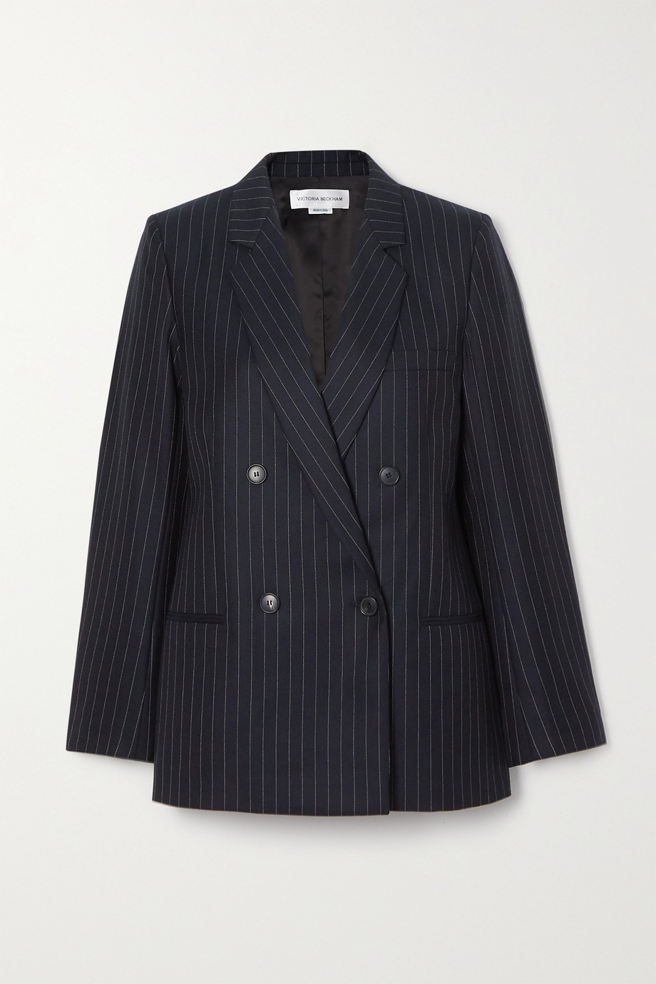 Victoria Beckham Double-breasted pinstriped wool-twill blazer