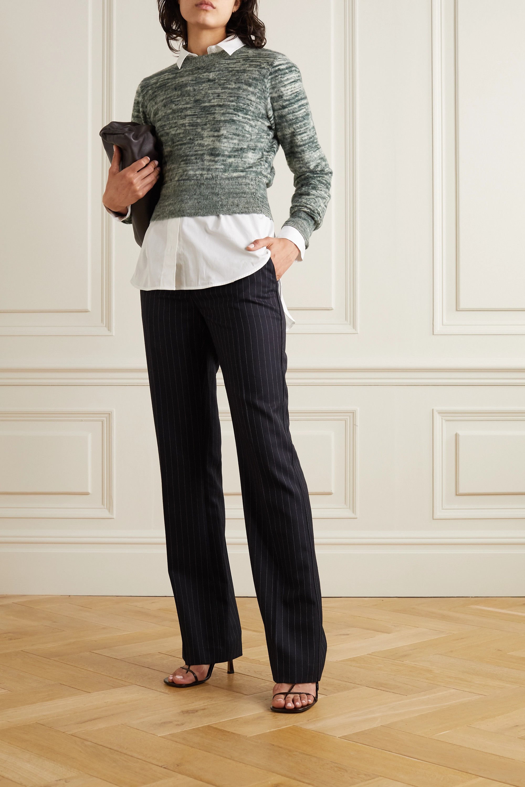 Victoria Beckham Mélange brushed-cotton sweater