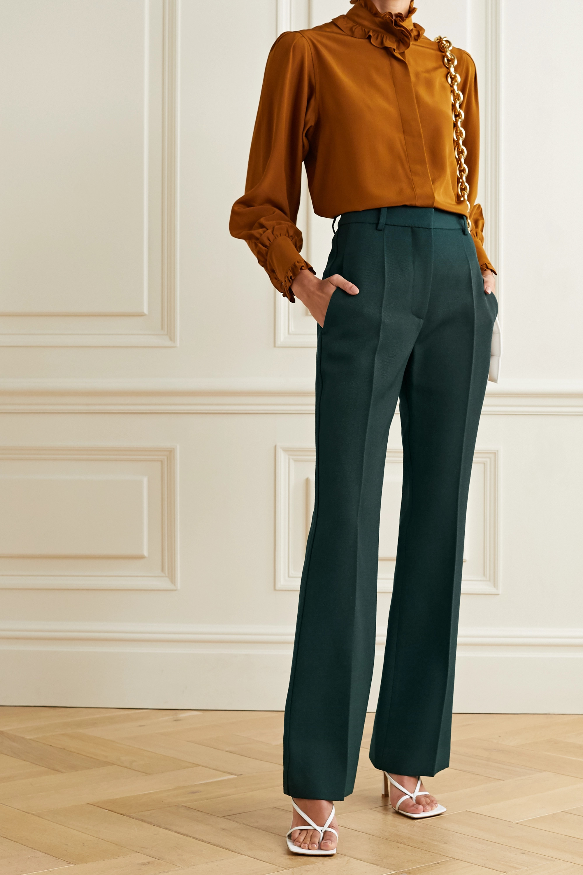 Victoria Beckham Wool-gabardine straight-leg pants