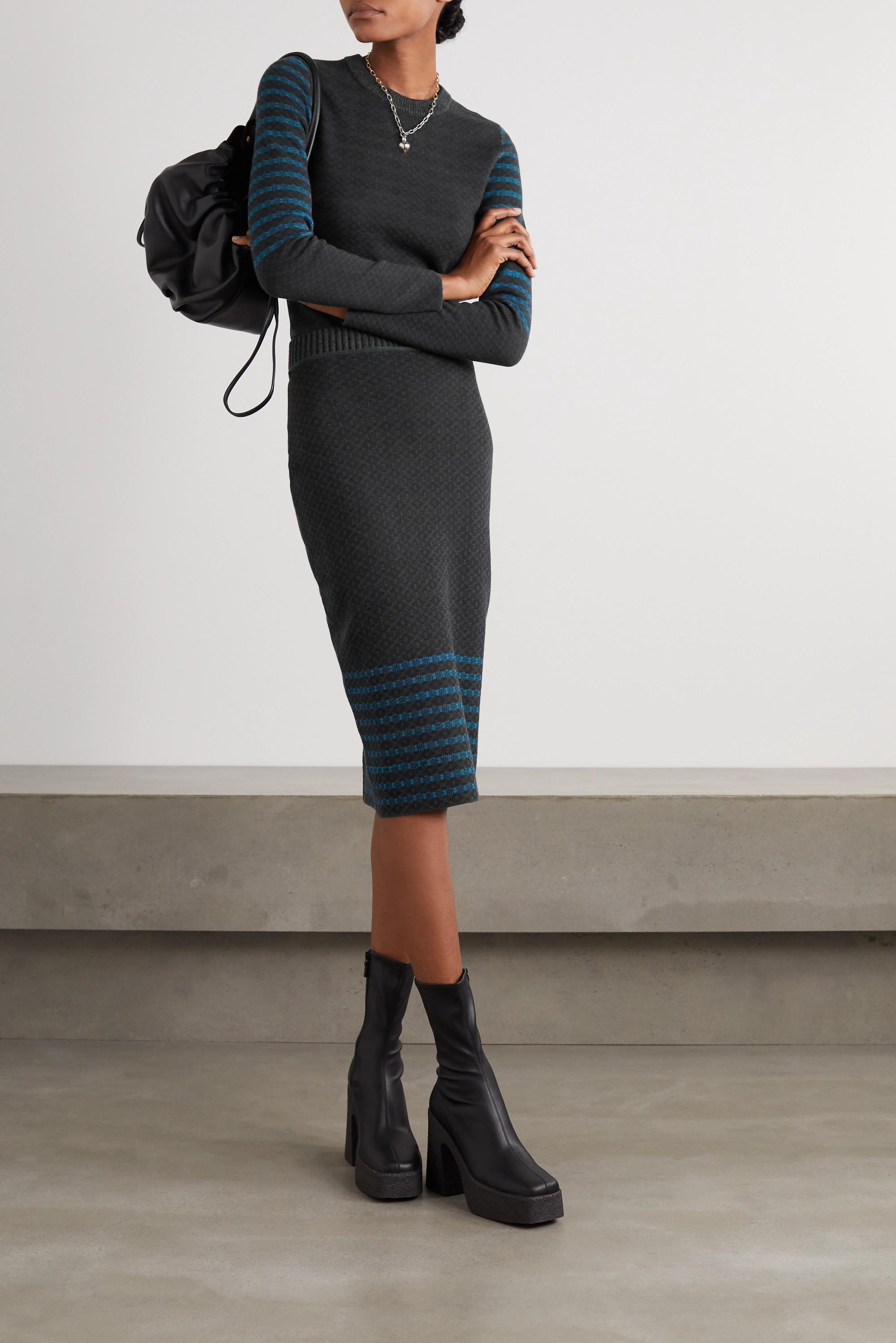 Victoria Beckham Stretch-cotton jacquard-knit skirt