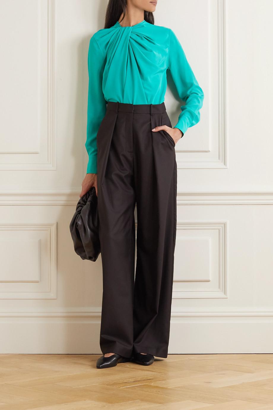 Victoria Beckham Twist-front silk-crepe blouse