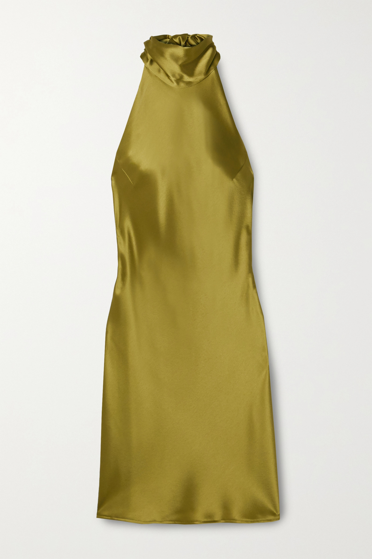 Galvan Mini-robe à encolure américaine en satin Sienna