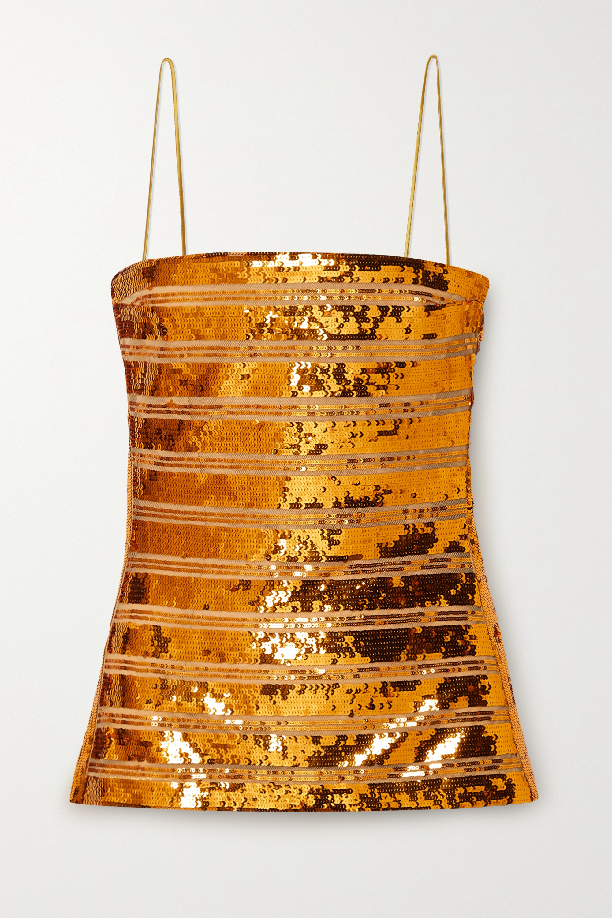 Galvan Stargaze strapless striped sequined tulle top
