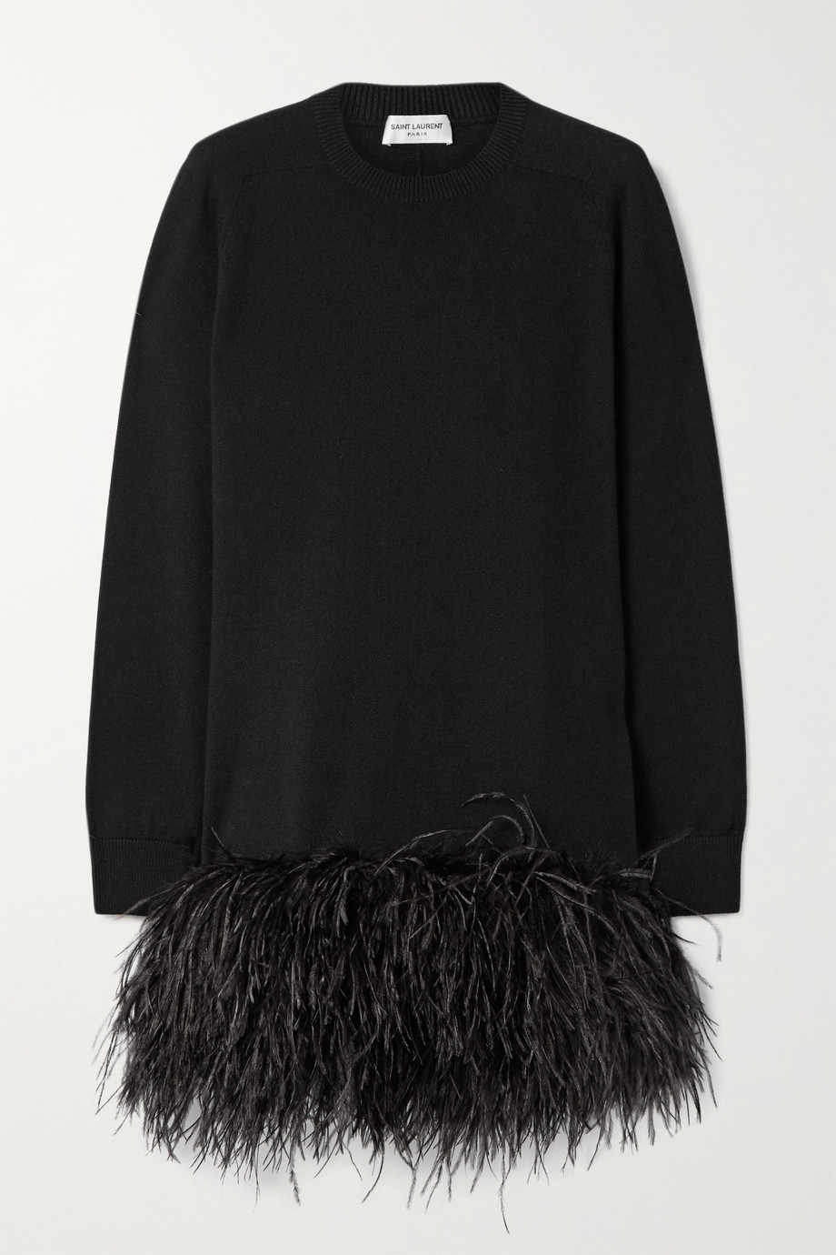 SAINT LAURENT Feather-trimmed cashmere mini dress