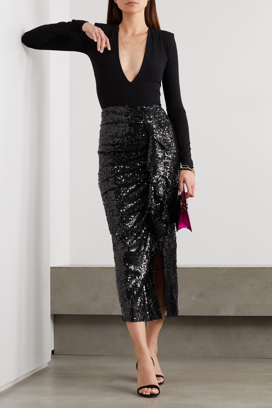 In The Mood For Love Moore ruffled sequined tulle midi skirt