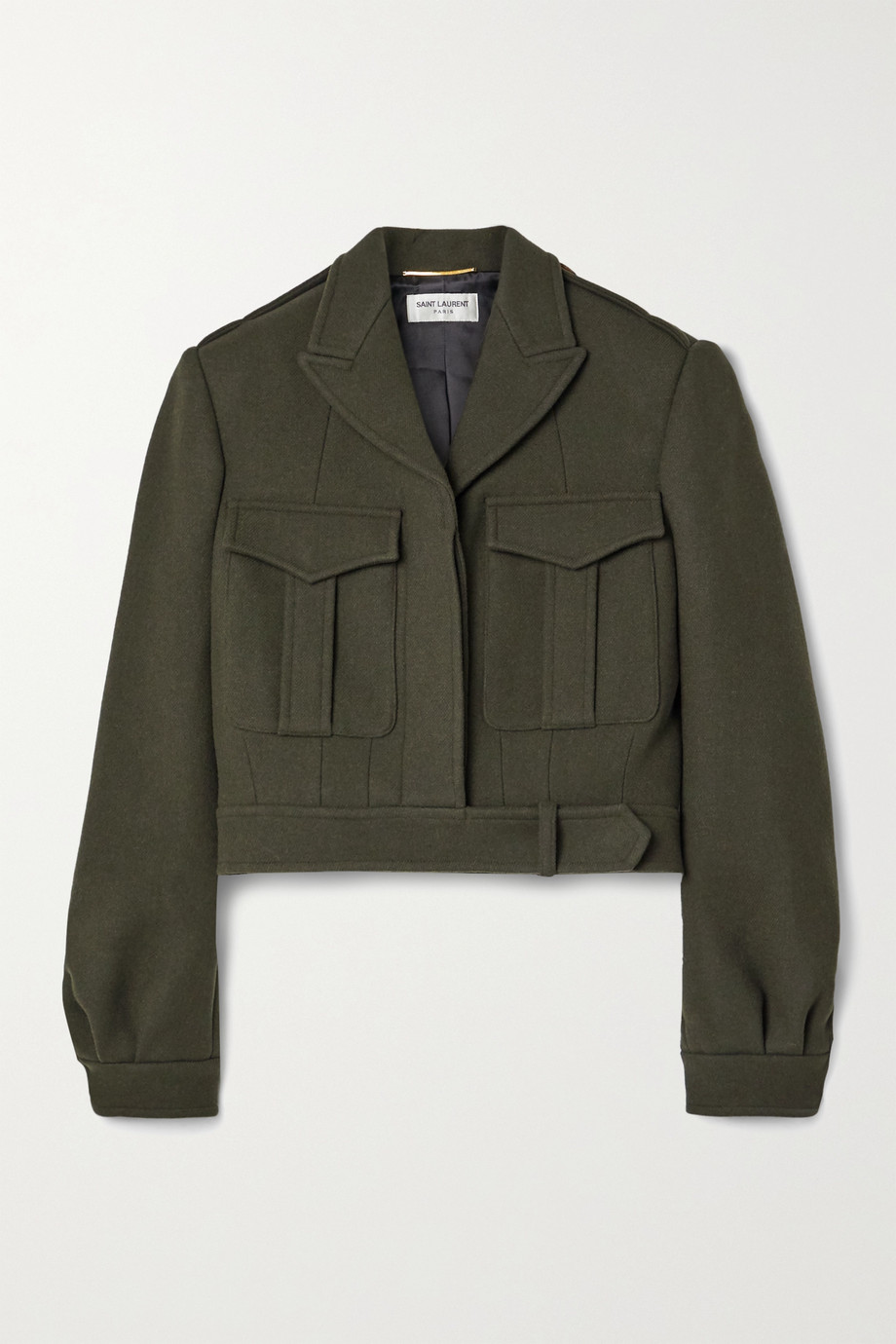 SAINT LAURENT Cropped wool-gabardine jacket