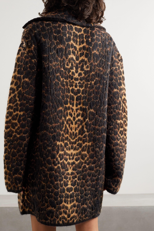 SAINT LAURENT Mantel aus Jacquard aus einer Wollmischung mit Leopardenmuster