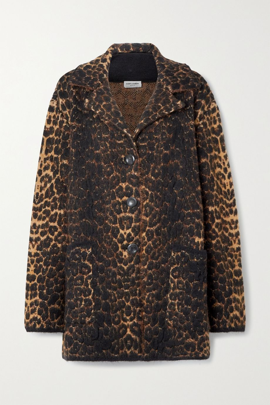 SAINT LAURENT 豹纹提花羊毛混纺外套