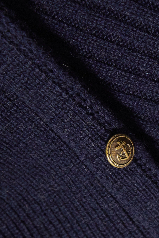 SAINT LAURENT Button-embellished ribbed camel wool mini dress