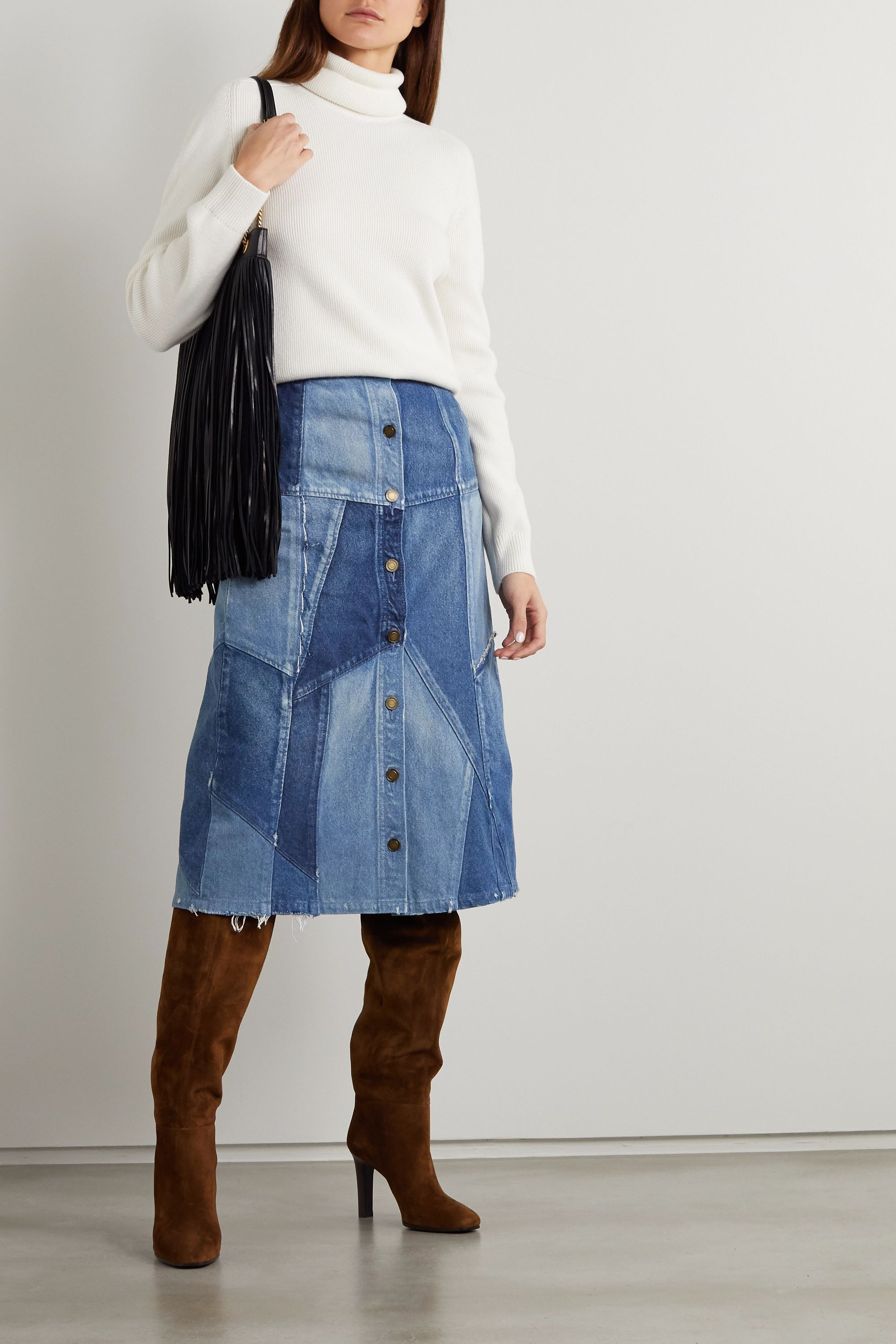 SAINT LAURENT Patchwork denim midi skirt