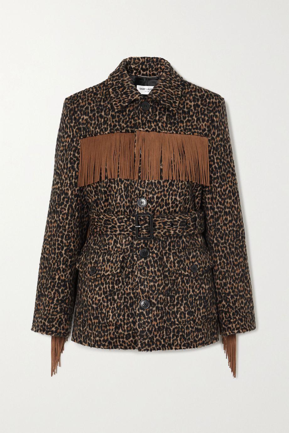 SAINT LAURENT Belted fringed leopard wool-blend jacquard jacket