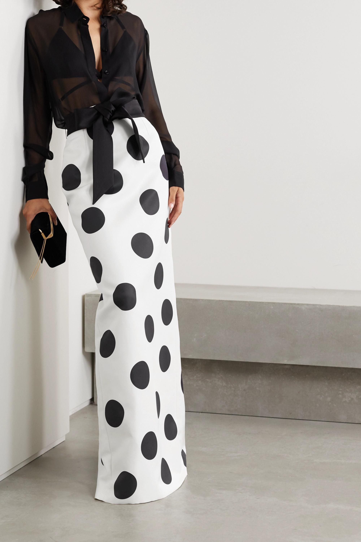SAINT LAURENT Satin-trimmed polka-dot silk-faille maxi skirt