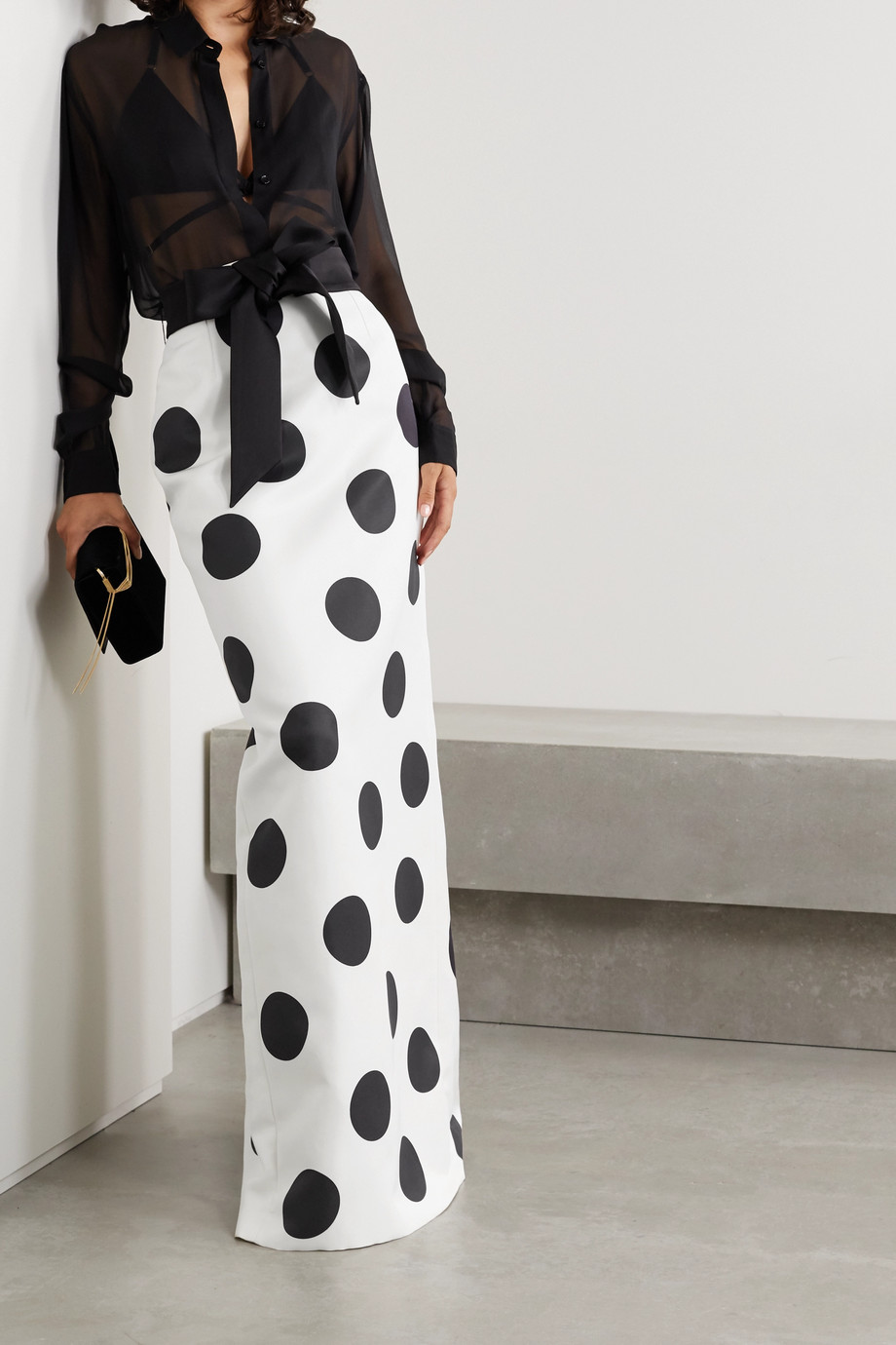 SAINT LAURENT Satin-trimmed polka-dot silk-faille maxi skirt
