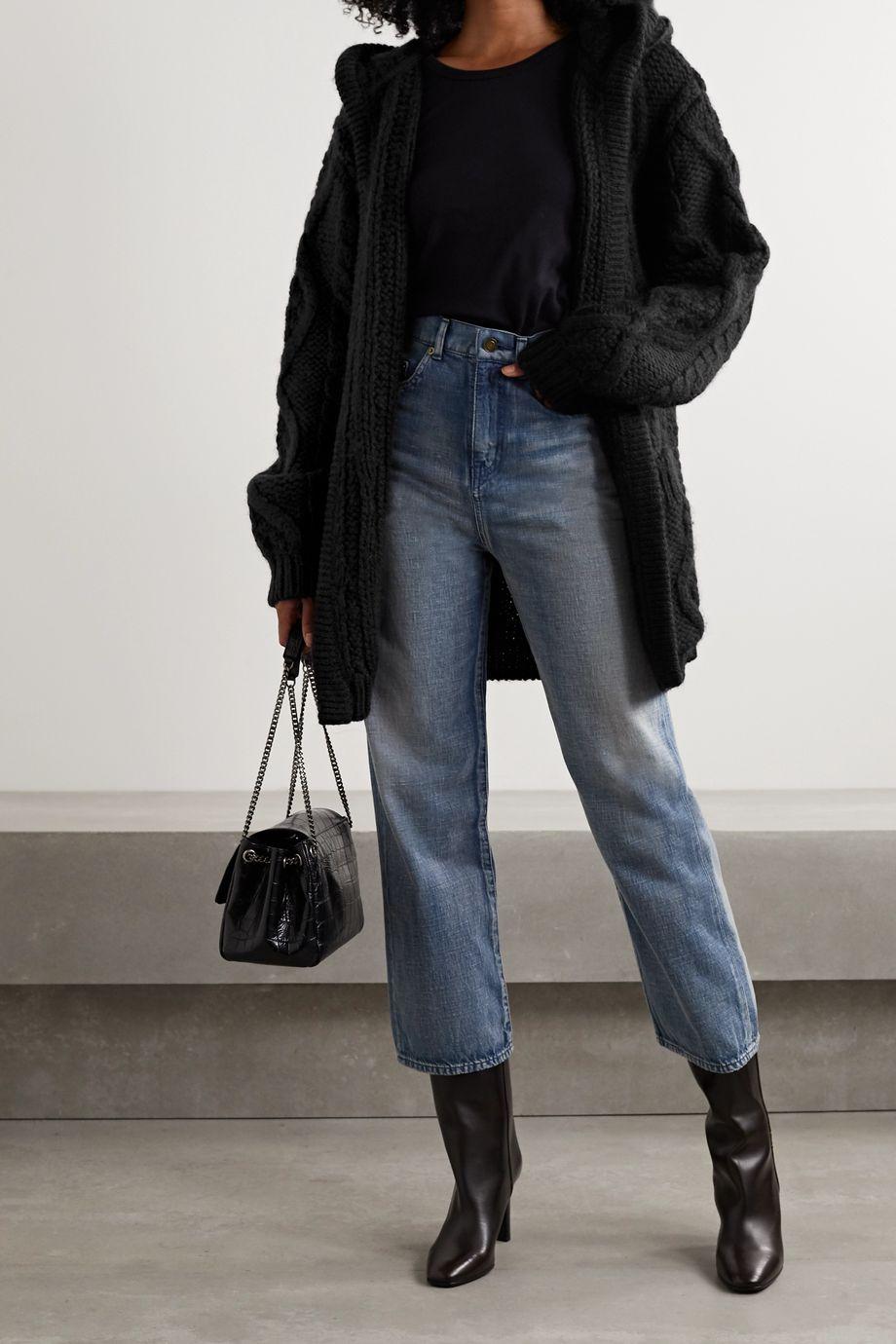 SAINT LAURENT Cardigan oversize à capuche en laine et mohair mélangés à mailles torsadées