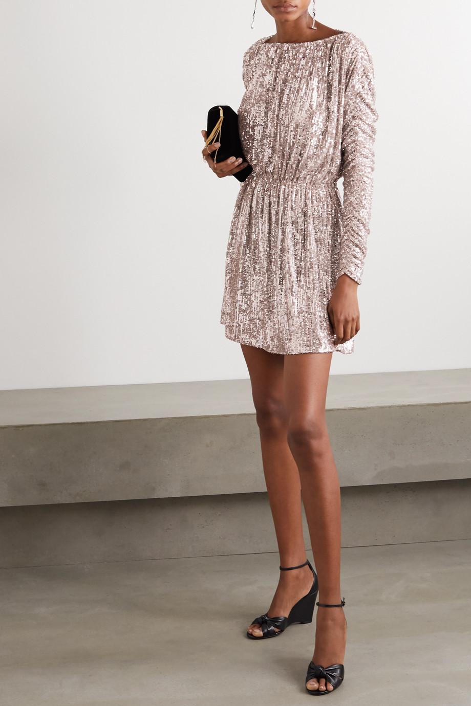 SAINT LAURENT Mini-robe en tulle à sequins et à fronces