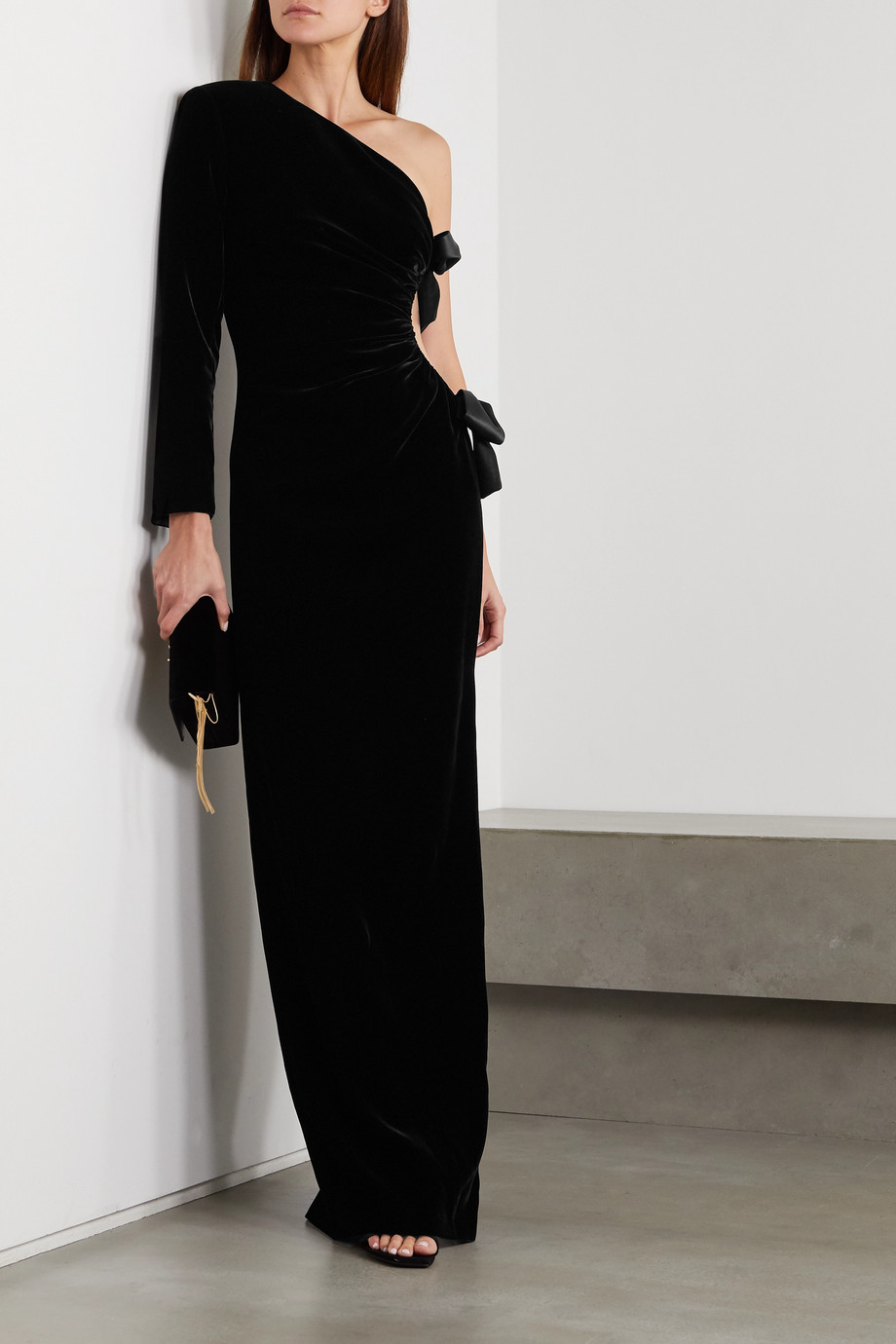 SAINT LAURENT One-sleeve bow-embellished cutout velvet gown