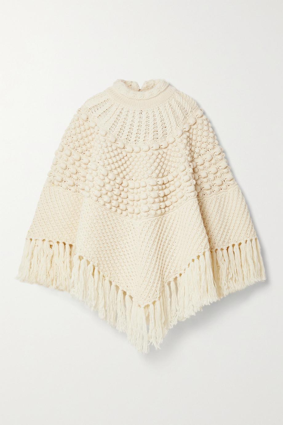 SAINT LAURENT Poncho aus Wolle mit Fransen