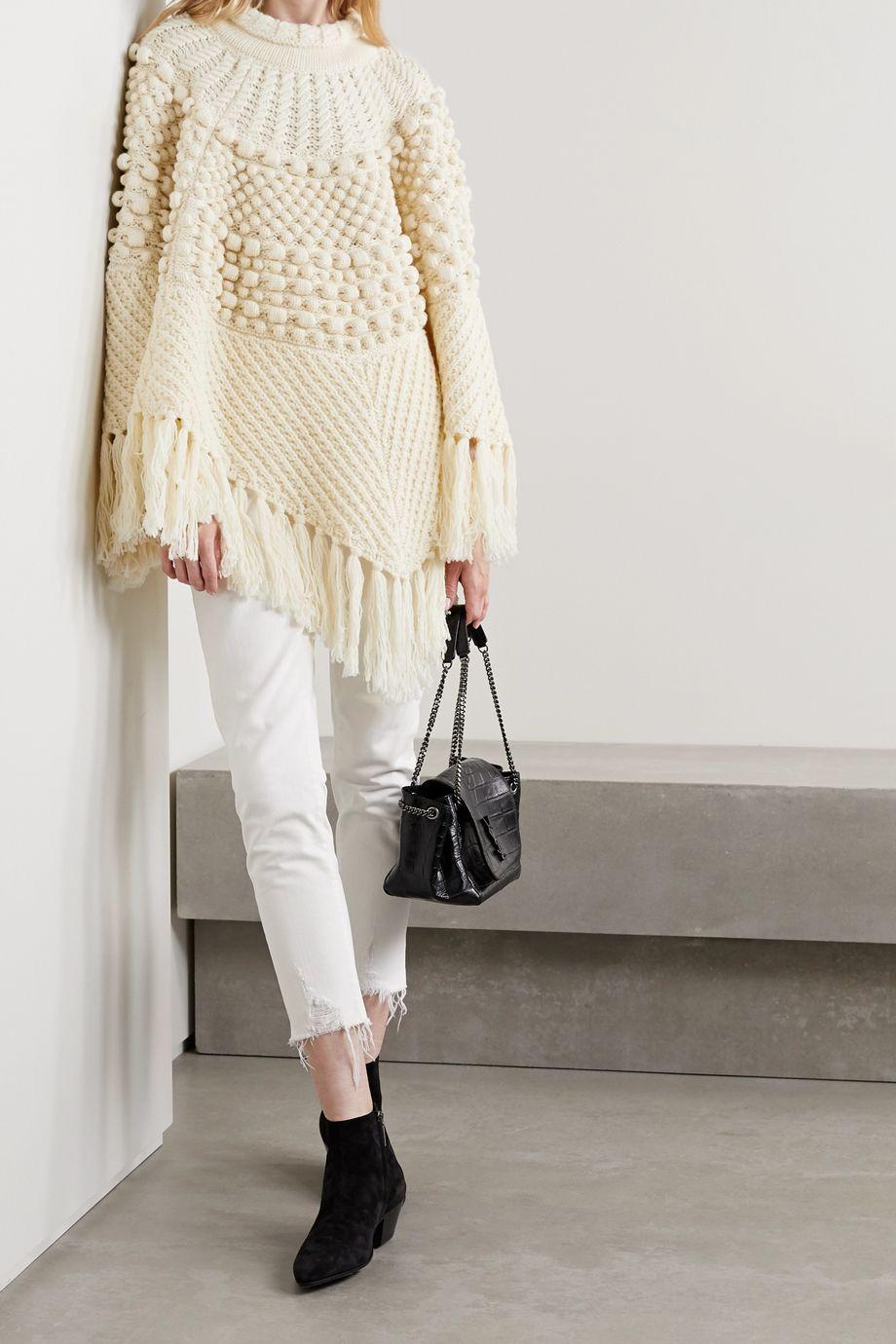 SAINT LAURENT Fringed wool poncho
