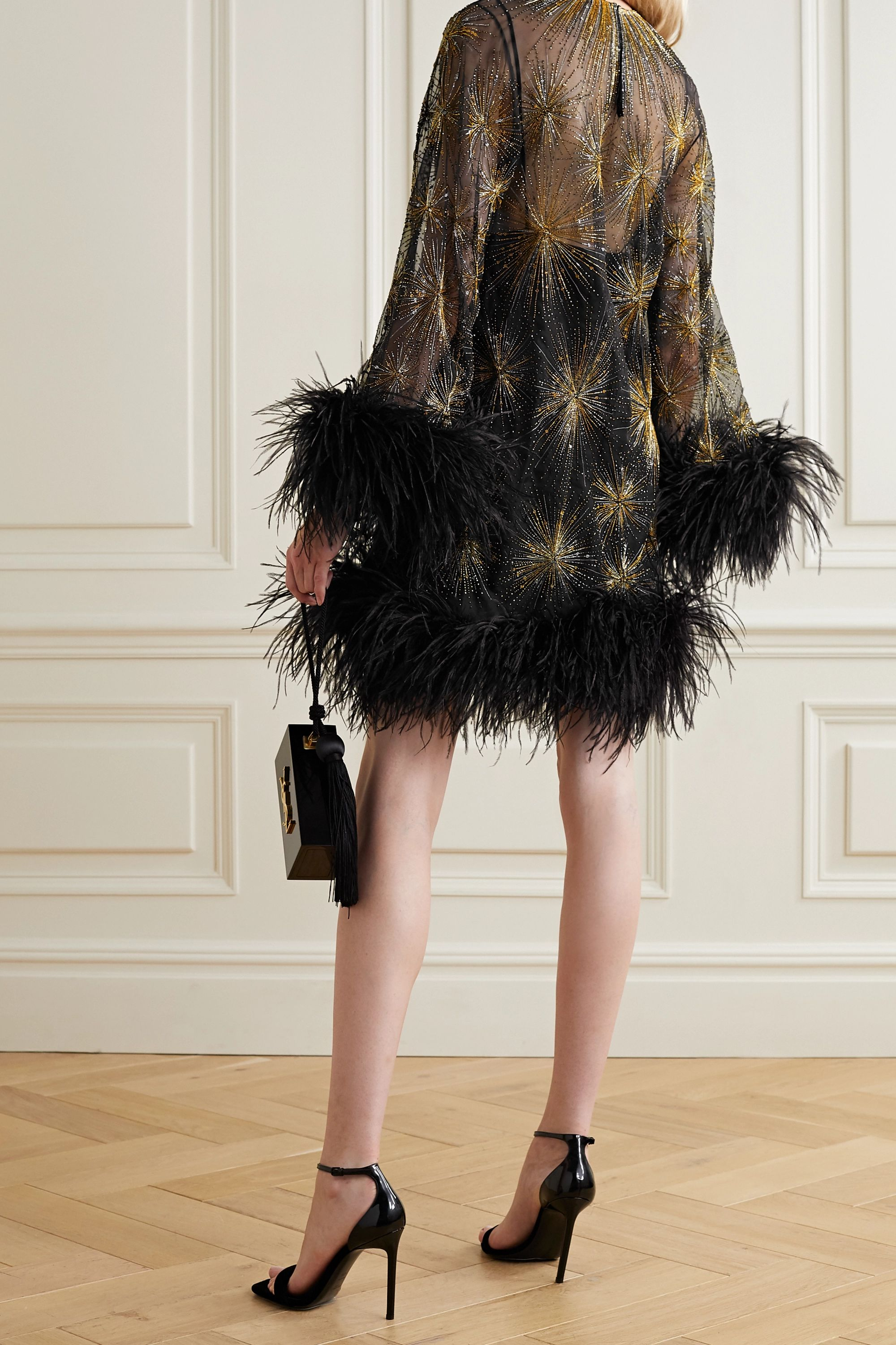 SAINT LAURENT Feather-trimmed beaded embroidered silk-organza mini dress