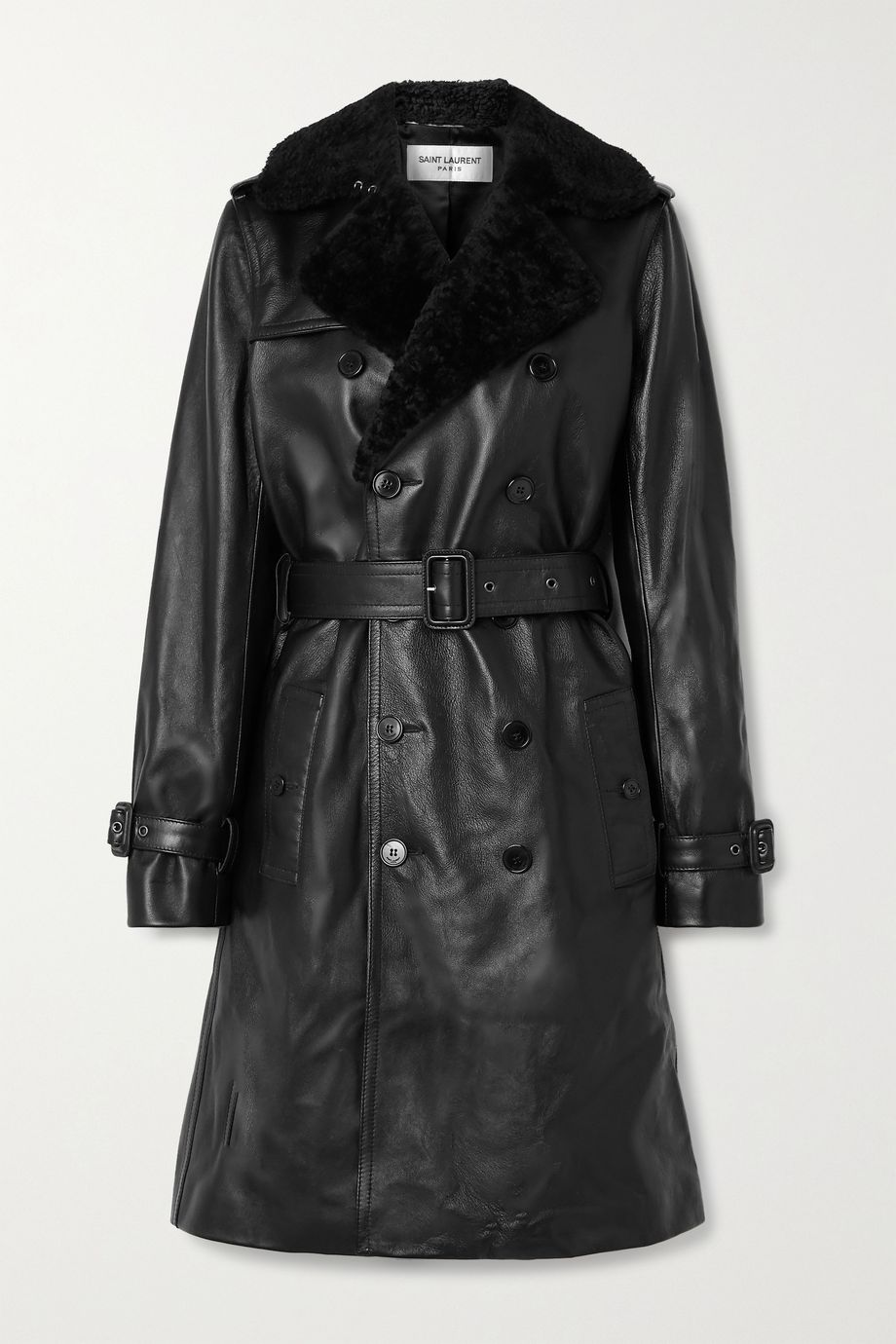 SAINT LAURENT Shearling-trimmed leather trench coat