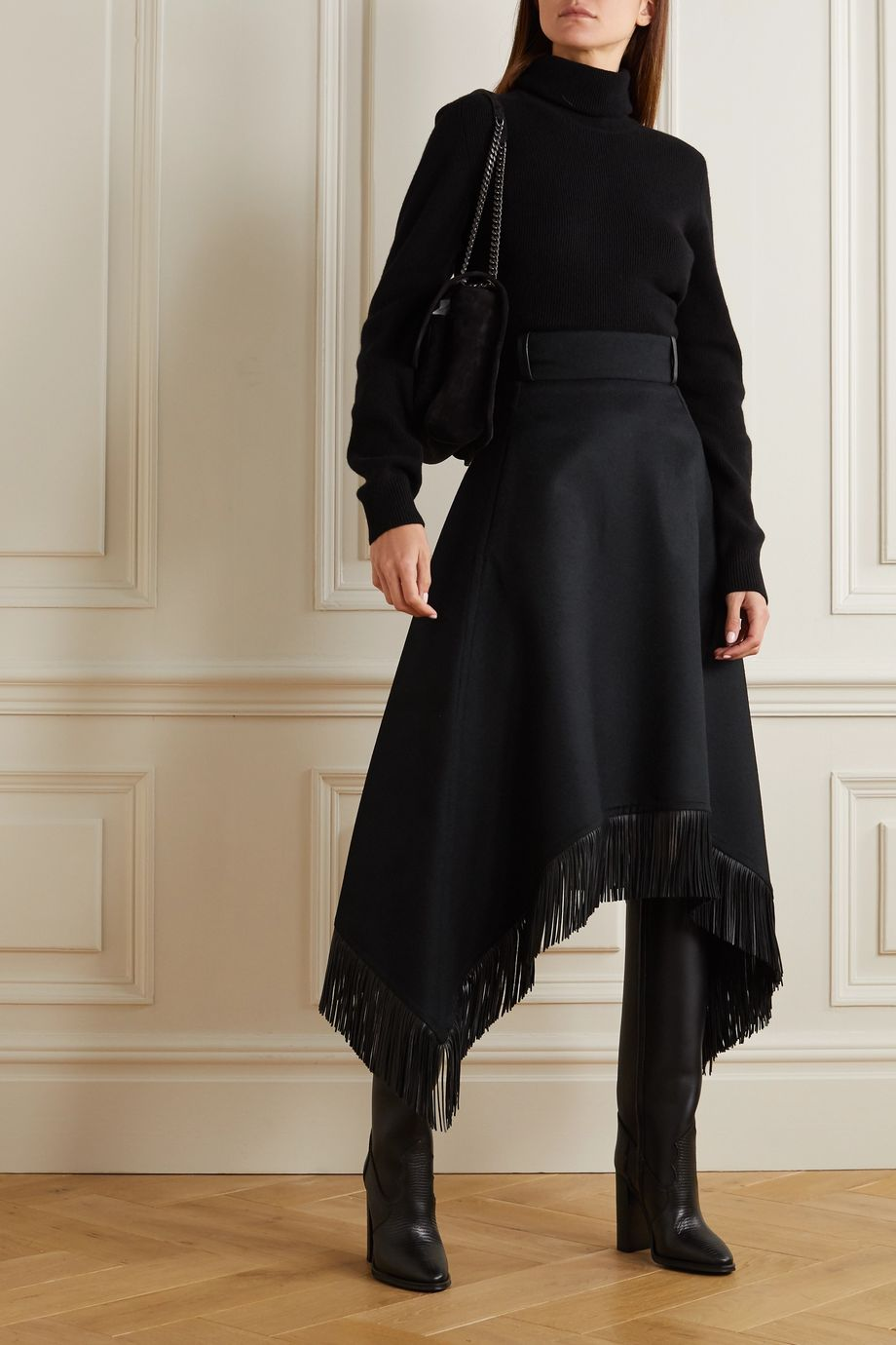 SAINT LAURENT Asymmetric leather-trimmed wool and cashmere-blend midi skirt