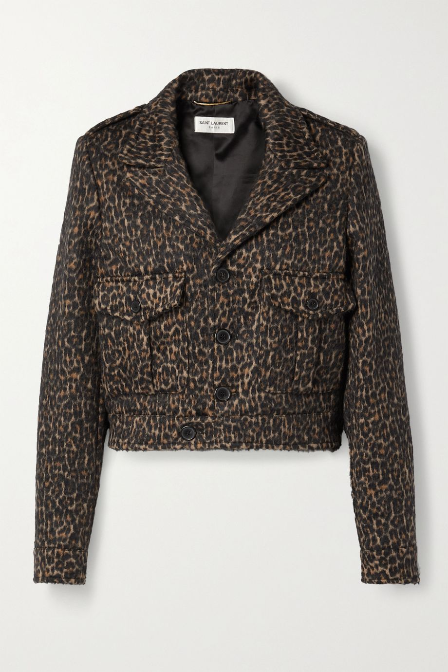 SAINT LAURENT Cropped leopard-print wool-blend jacket