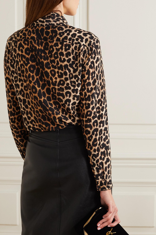 SAINT LAURENT Pussy-bow leopard-print silk crepe de chine shirt