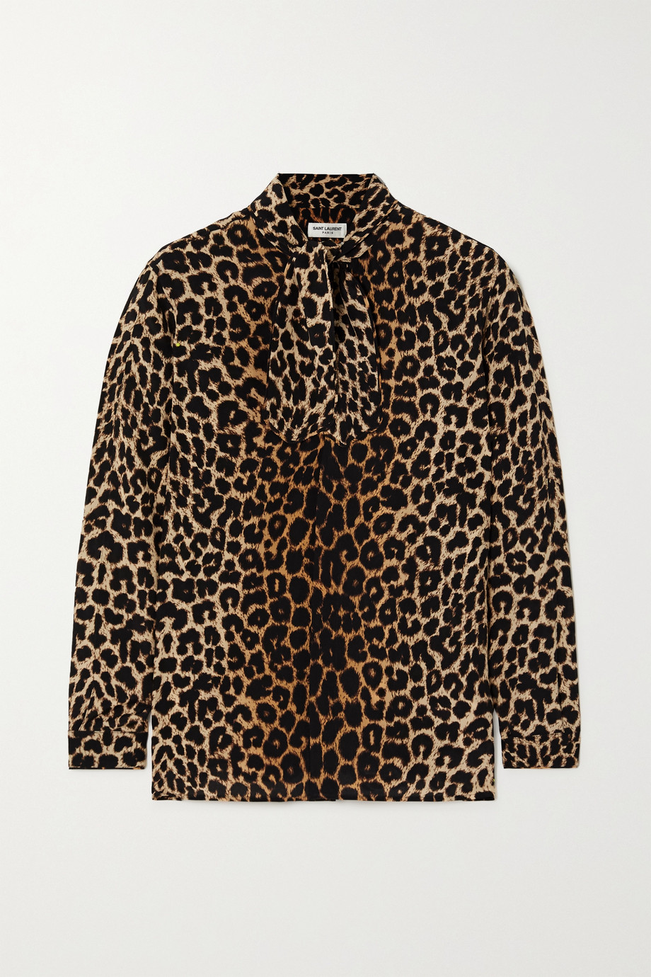 SAINT LAURENT Pussy-bow leopard-print silk crepe de chine shirt