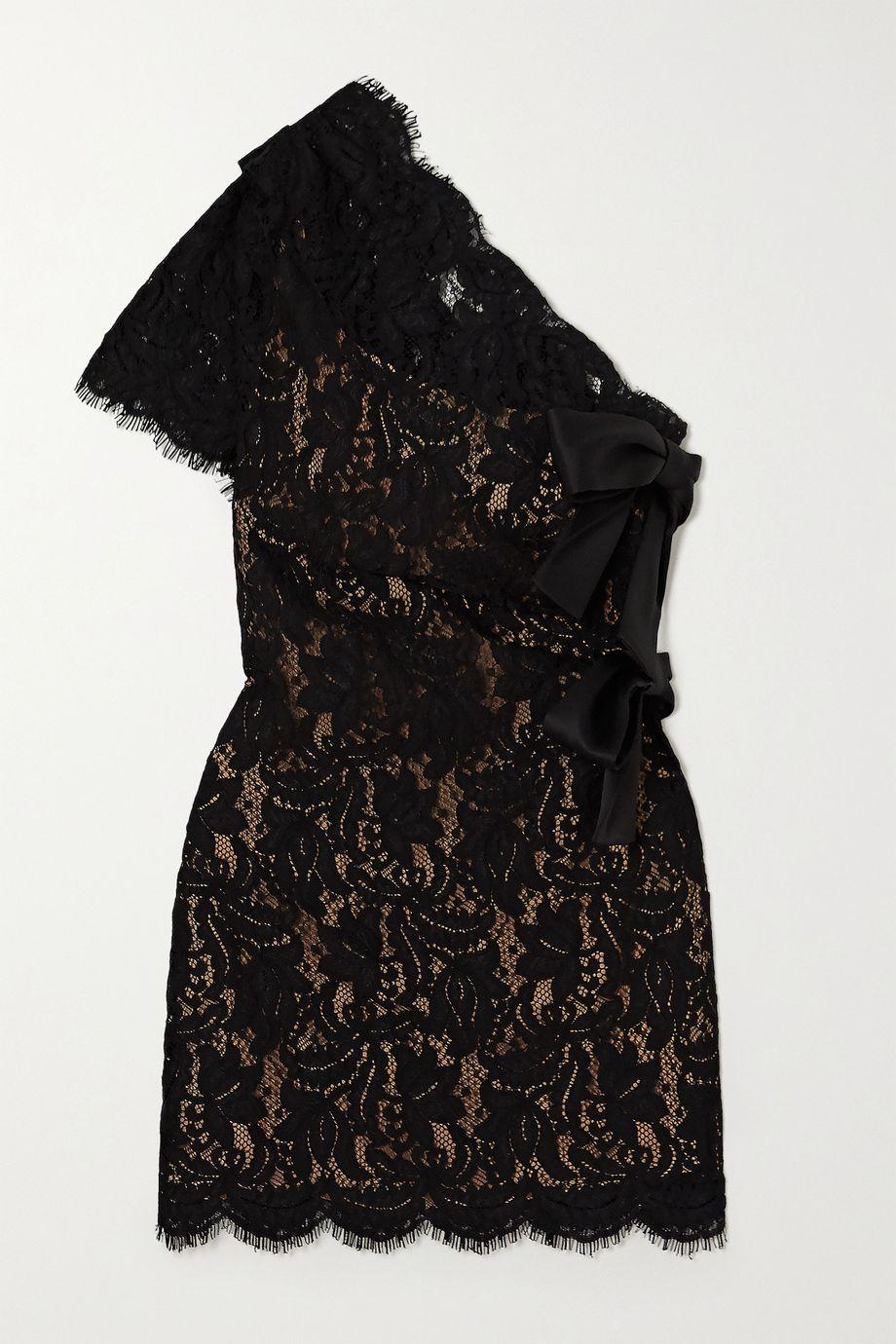 SAINT LAURENT One-sleeve bow-embellished lace mini dress
