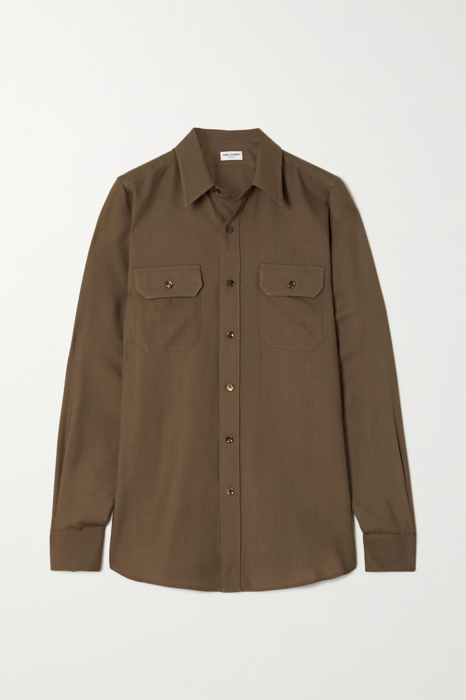 SAINT LAURENT Wool-twill shirt