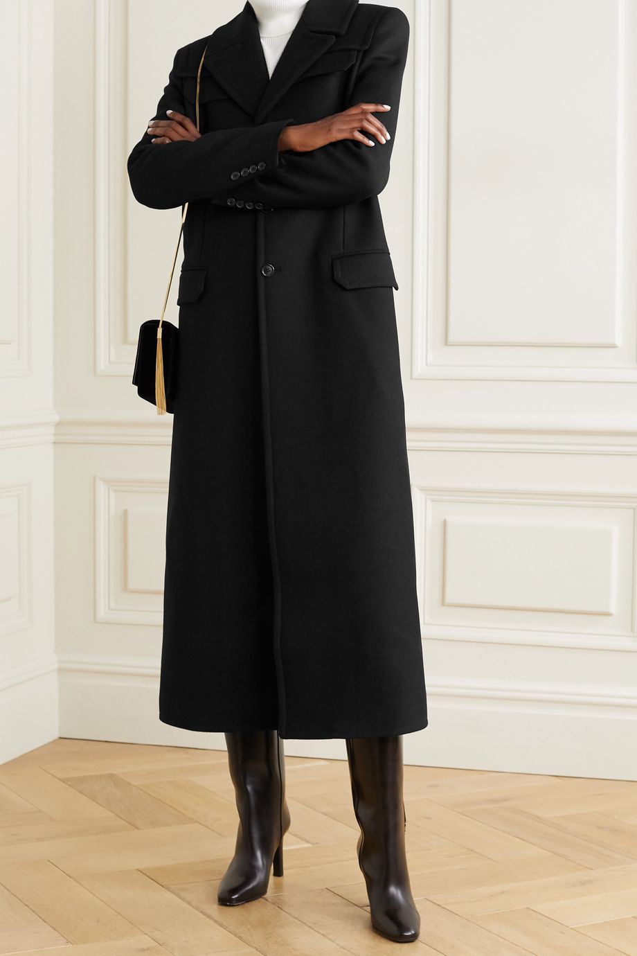 SAINT LAURENT Wool-twill coat