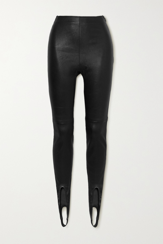 SAINT LAURENT Leather stirrup leggings