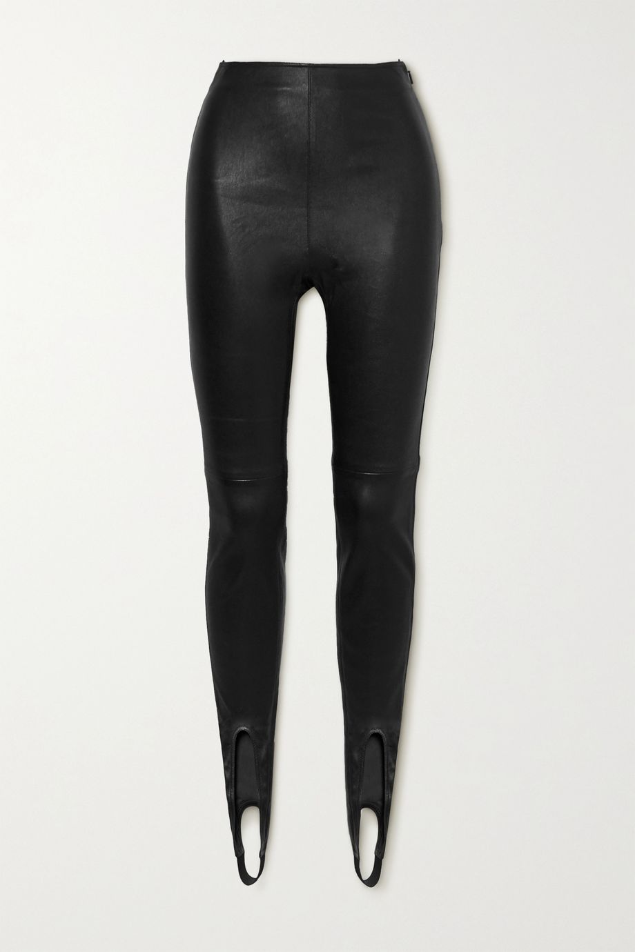 SAINT LAURENT Leather stirrup leggings