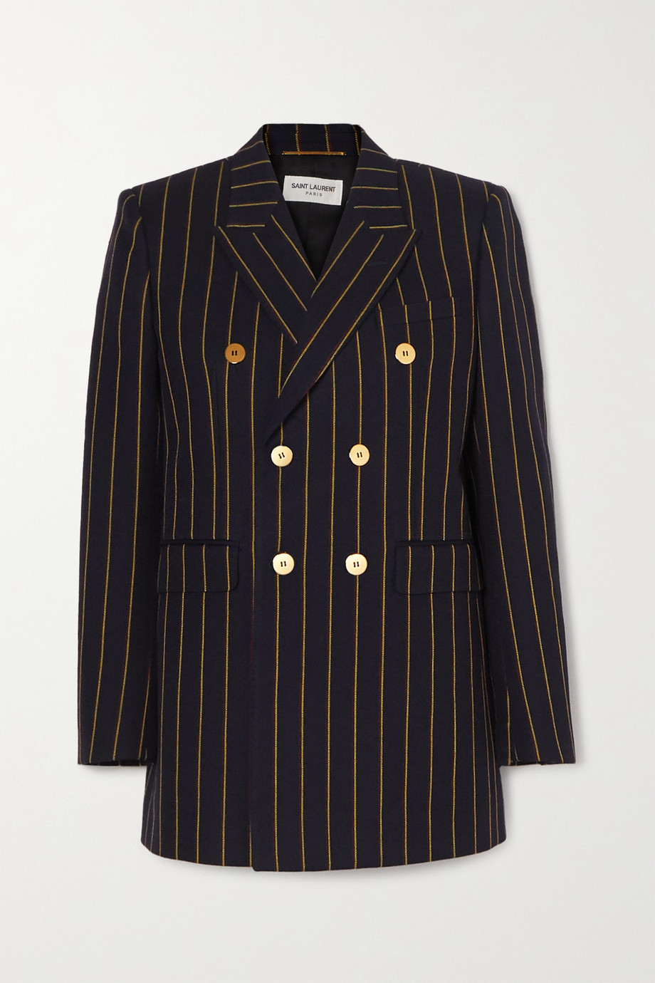 SAINT LAURENT Double-breasted pinstriped wool-twill blazer